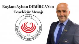 Başkan Ayhan DEMİRCAN'ın Teşekkür Mesajı